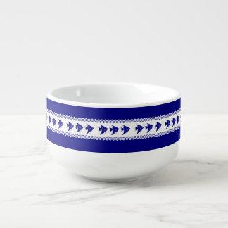 3 Navy Blue And White Coastal Pattern Angelfish Soup Mug