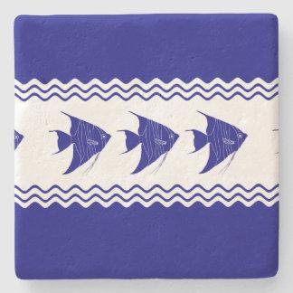 3 Navy Blue And White Coastal Pattern Angelfish Stone Coaster