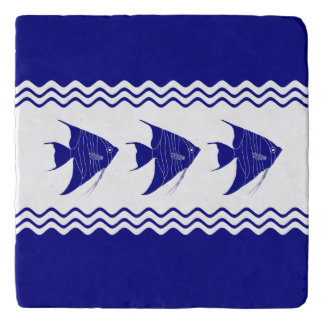 3 Navy Blue And White Coastal Pattern Angelfish Trivet