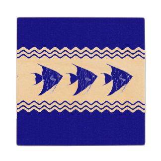 3 Navy Blue And White Coastal Pattern Angelfish Wood Coaster