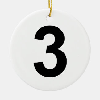 3 - number three ceramic ornament