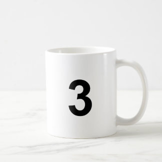3 - number three coffee mug