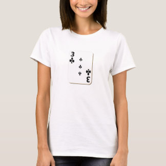 3 of Clubs Playing Card T-Shirt