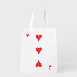 3 of Hearts Reusable Grocery Bag