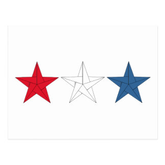 3 Origami Stars – Red, White, and Blue Postcard