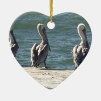 3 Pelicans Ceramic Ornament