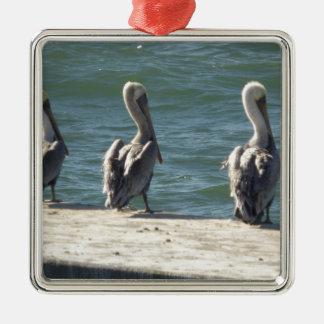 3 Pelicans Metal Ornament