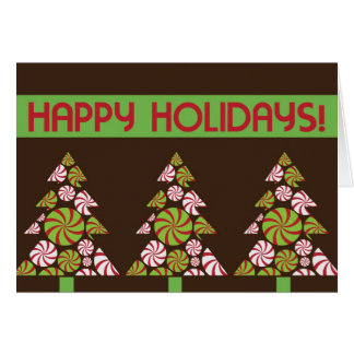3 Peppermint Christmas Trees Holiday Card