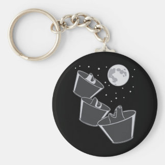 3 Pet Wolves Moon Basic Round Button Key Ring