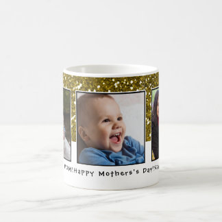 3 Photo Collage Gold Glitter Mothers Day Coffee Mug