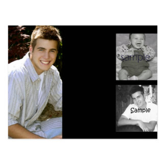 3 photo collage graduation announcement post card