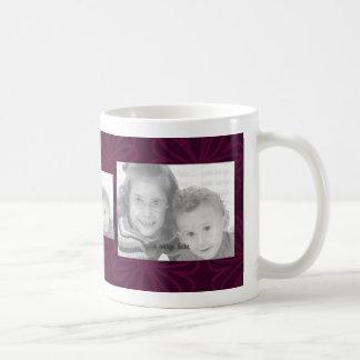 3 Photo Template Mug - Burgundy Flowers