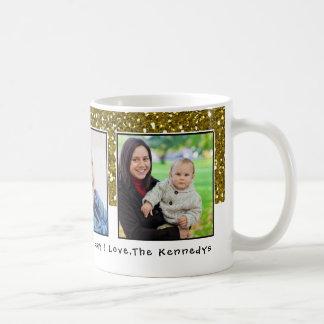 3 Photos Gold Glitter Holiday Coffee Mug