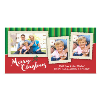 3 Picture Frames on Striped Background, Christmas Card