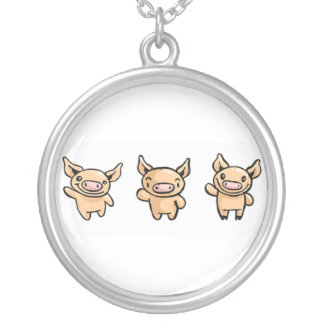 3-pigs silver plated necklace