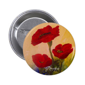 3 Poppies 6 Cm Round Badge