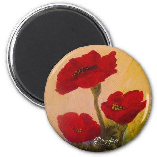 3 Poppies 6 Cm Round Magnet