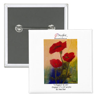 3 Poppies Pinback Buttons
