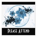 3 Pretty Flowers - Blue Custom Announcements