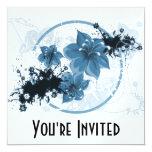 3 Pretty Flowers - Blue 13 Cm X 13 Cm Square Invitation Card