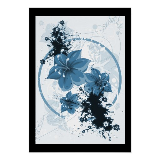 3 Pretty Flowers - Blue Poster