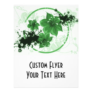 3 Pretty Flowers - Green Full Color Flyer