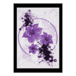 3 Pretty Flowers - Purple Poster
