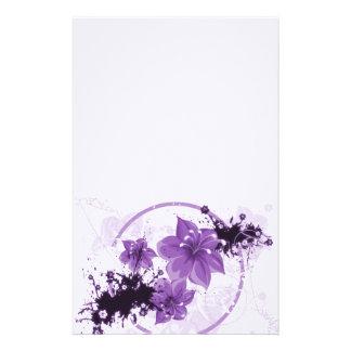 3 Pretty Flowers - Purple Stationery