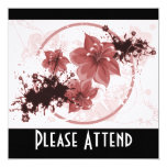 3 Pretty Flowers - Red 13 Cm X 13 Cm Square Invitation Card