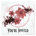 3 Pretty Flowers - Red Personalised Invitations