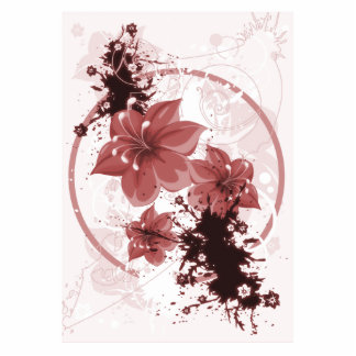 3 Pretty Flowers - Red Photo Cut Outs