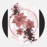 3 Pretty Flowers - Red Round Sticker