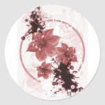 3 Pretty Flowers - Red Round Stickers