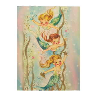 3 Pretty Mermaids Under the Sea - wood block art