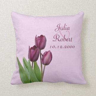 3 Purple tulips anniversary Throw Pillow
