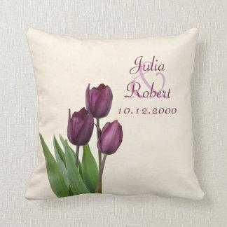 3 Purple tulips cream anniversary Throw Pillow