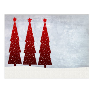 3 Red Christmas trees Postcard