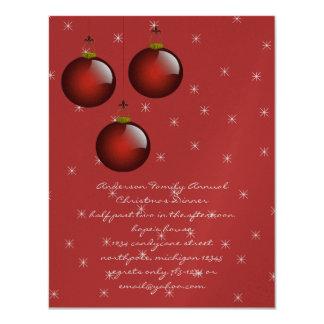 3 Red Ornaments 11 Cm X 14 Cm Invitation Card