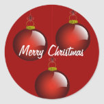 3 Red Ornaments Round Stickers