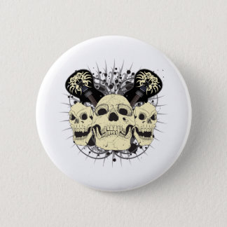 3 Rock n Roll Skulls 6 Cm Round Badge
