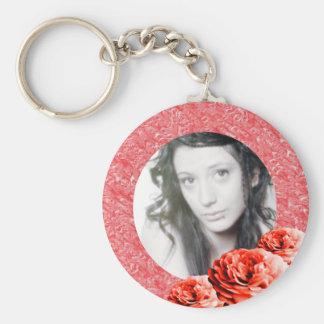 3 Roses/Photo Basic Round Button Key Ring