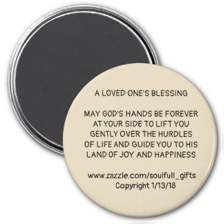 "3"" Round Magnet with  ""A LOVED ONE'S BLESSING"""