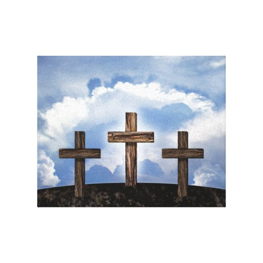 3 Rugged Crosses with Sky Gallery Wrapped Canvas
