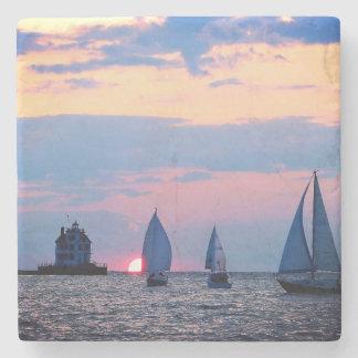 3 Sailboats Sunset Stone Coaster