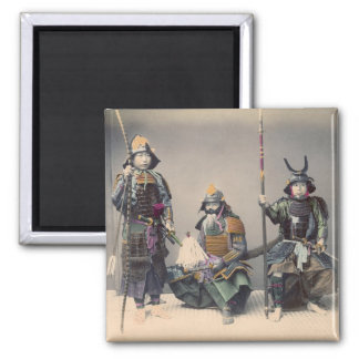 3 Samurai in Armor Vintage Photo Magnet