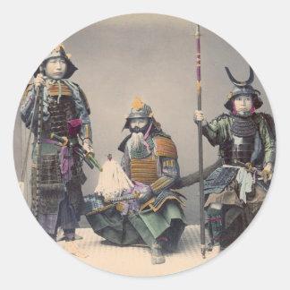 3 Samurai in Armor Vintage Photo Round Sticker