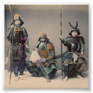 3 Samurai in Armor with Weapons Poster