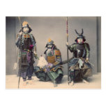 3 Samurai in Armour Vintage Photo Postcard