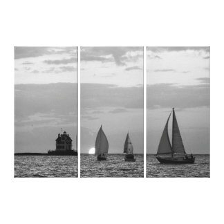 3 Ships at Sunset Black&White Wrapped Canvas Print