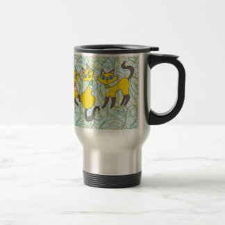 3 Siamese Cats with Retro Organic Shapes Travel Mug